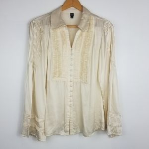 Saks Fifth Avenue | 100% Silk Button Down Top